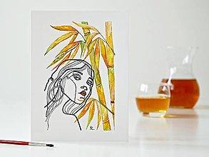 Obrazy - Palm bamboo a Dáma 11, akvarel, 18 x 24 cm - 13326002_