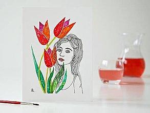 Obrazy - Tulipán a Deva 12, akvarel, 18 x 24 cm - 13326040_