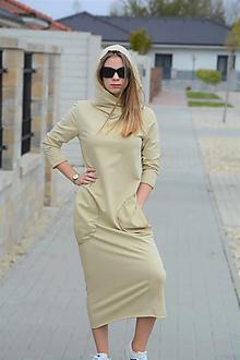 Šaty - Teplákové šaty Cathy s kapucňou a 3/4 rukávom - 13326731_