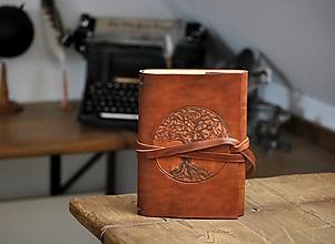 Papiernictvo - kožený midori zápisník YGGDRASILL - 13324431_