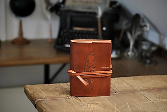 Papiernictvo - kožený midori zápisník FEATHERPEN - 13324439_