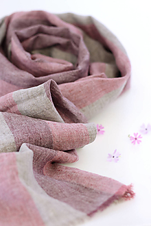 """Šatky - Pásikavá ružová šatka z ľanu """"Oldrose"""" - 13324513_"""