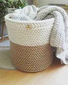 Košíky - Dizajnový kôš vidiecky v prírodných odtieňoch - 13326430_