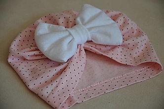 Čiapky - Čiapka turban- novorodenecká (Ružová) - 13325350_