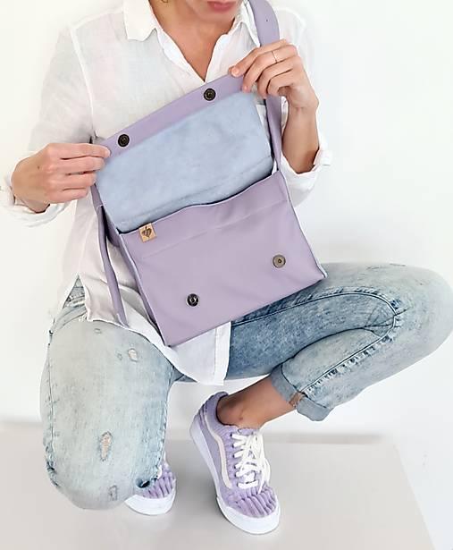 Kabelky - Lavender kožená kabelka - 13326474_
