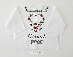 Detské oblečenie - košieľka na krst-folk (košieľky so zeleným golierikom) - 13326201_