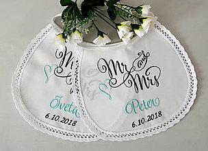 Iné doplnky - svadba -podbradníky vyšívané (MR and MRS) - 13326319_