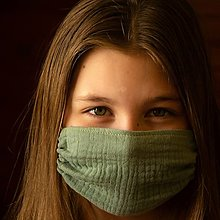Rúška - PRIEDUŠNÉ mušelínové rúško - detské 7-12 rokov - 13327371_