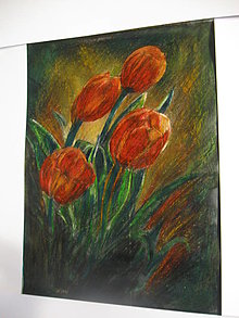 Kresby - Podvečerné tulipány - 13327126_