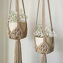 Dekorácie - Macramé Držiak na kvetináč  - 13325646_