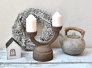 "Svietidlá a sviečky - Svietnik dvojramenný - ""keramický"" - 13325541_"
