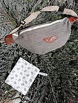 Kabelky - Ľadvinka tvídová so svetlým zipsom + púzdro na respirátor - 13325902_