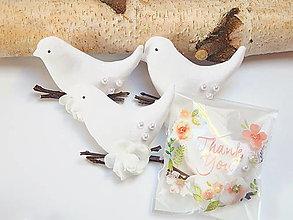 Dekorácie - Biely vtáčik - darček pre svadobných hostí - 13324533_