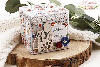 Papiernictvo - Folklórna svadobná darčeková krabička na peniaze - 13329638_