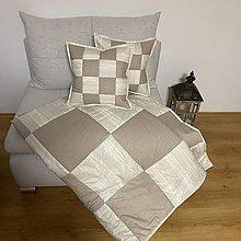 Úžitkový textil - Prehoz, vankúš patchwork vzor béžová vintage   ( rôzne varianty veľkostí ) - 13331527_