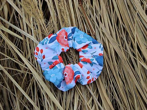 Scrunchies gumička red flower