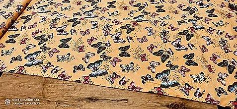 Textil - Úplet -Motýle - cena za 10 centimetrov (Pestrofarebná) - 13328189_