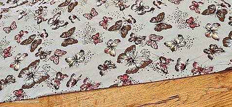 Textil - Úplet -Motýle - cena za 10 centimetrov (Šedá) - 13328190_