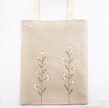 Nákupné tašky - Ľanová maľovaná taška - Harmanček - 13329412_