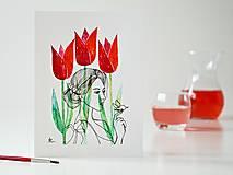 Obrazy - Tulipán a Deva 13, akvarel, 18 x 24 cm - 13328045_