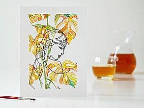Obrazy - Monstera a dáma 14, akvarel, 18 x 24 cm - 13328066_