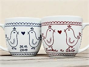 Nádoby - Porcelánový hrnček - Vtáčiky folklór (svadobný set 2 hrnčekov 330 ml) - 13330818_