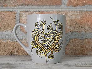 Nádoby - Sivý hrnček - Heart ornament - 13329297_