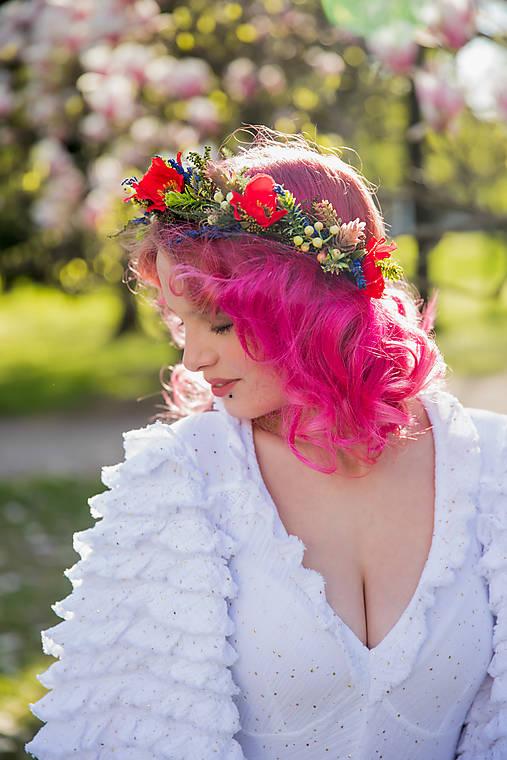 """Kvetinový folk venček """"červené maky"""""""