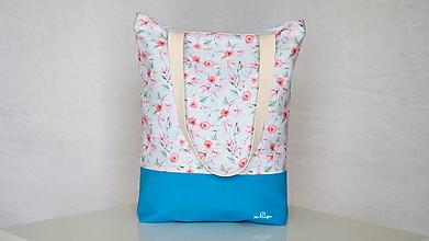 Nákupné tašky - Taška- tyrkysová s kvietkami - 13329839_
