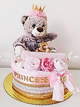 Detské doplnky - Plienková torta Princess Bear - 13329106_