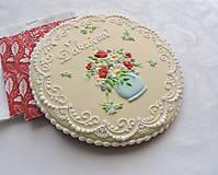 Dekorácie - Medovník Váza s kvetmi - 19 cm - 13332471_
