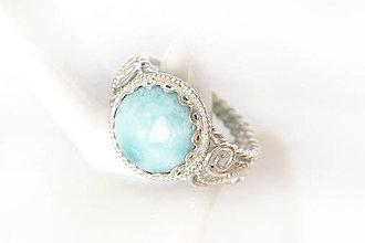 Prstene - hrubší prsteň s larimarom v.56 / Ag 925 - 13335466_