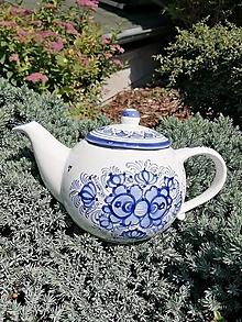 Nádoby - Objednávka - čajník s podstavcom modrý maľovaný- ZuZanka Top - 13332134_