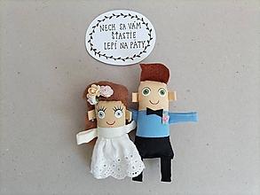 Darčeky pre svadobčanov - Nevesta + Ženích - textilné magnetky - 13334946_