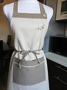 Iné oblečenie - Ľanová zástera s výšivkou - 13333260_
