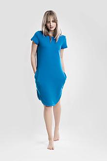 Šaty - Teplákové šaty tmavě tyrkysové - 13333738_