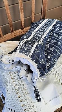 Úžitkový textil - Dvojvrstvové vrecko na veliký chlieb a pečivo_ Modrotlač I. - 13332310_