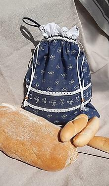 Úžitkový textil - Dvojvrstvové vrecko na chlieb a pečivo_ Modrotlač II. - 13332337_
