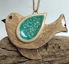 Dekorácie - Keramický vtáčik na zavesenie - 13333595_