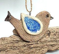 Dekorácie - Keramický vtáčik na zavesenie - 13335252_