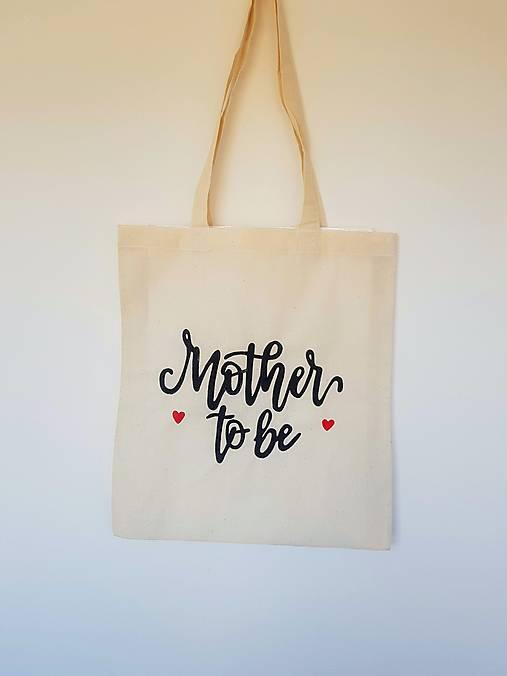 •ručne maľovaná plátená taška - Budem mama•