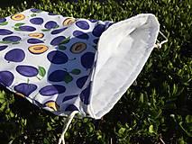 Úžitkový textil - vrecúško - slivky - 13332900_