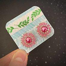 Náušnice - Šité náušnice puzetky: Za dverami ružových snov - 13333132_