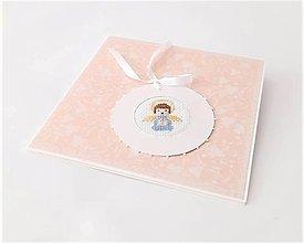 Papiernictvo - Blahoželanie k 1. sv. prijímaniu/krstu - vyšívaná pohľadnica pre chlapčeka - 13333919_