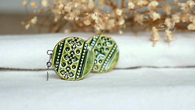 Náušnice - keramické náušnice č.373_ zelené ornamenty - 13337670_