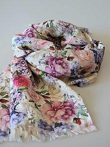 Šály - Ľanový šál ruže a hortenzie - 13339095_