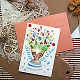 Papiernictvo - Pošlem ti pohľadnicu/ originál akvarelový obrázok - 13337361_