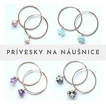 Náušnice - Prívesky na náušnice s perlami, polodrahokamami a minerálmi. Sada 3 páry - 13337624_