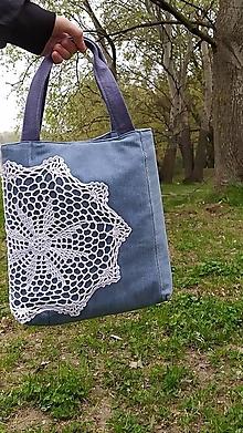 Iné tašky - Svetlomodrá s bielou mandalou, denim taška - 13336853_