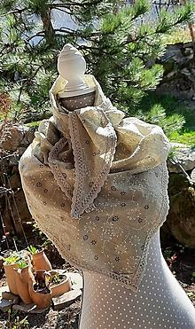 Šatky - Veľká šatka s čipkou, dvomi rúškami a vreckom_ béžový piesok - 13335819_